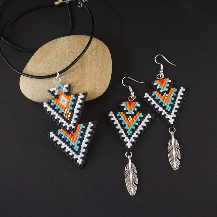 Boho beaded earrings native american earrings style, ethnic earrings dangle