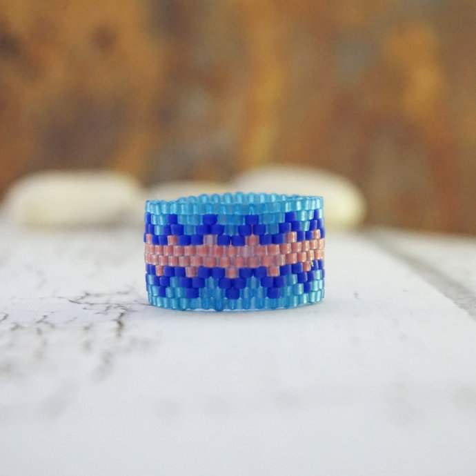 Boho rings for women, Beaded ring, Fashion rings, Tribal ring, Hippie ring Wide
