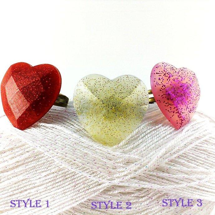Heart ring Love ring Heart jewelry Resin ring Red heart ring Golden heart ring