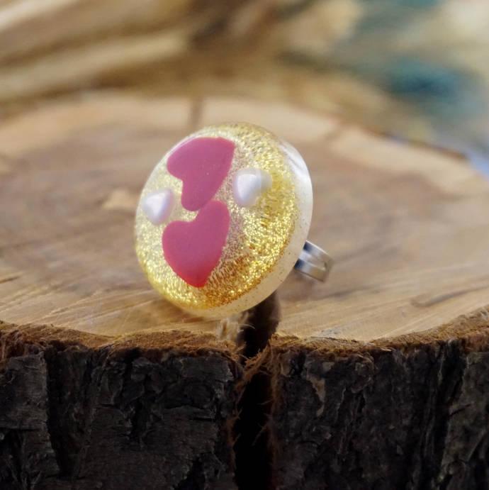 Red heart ring, Nature rings for women, Resin ring flower Adjustable rings