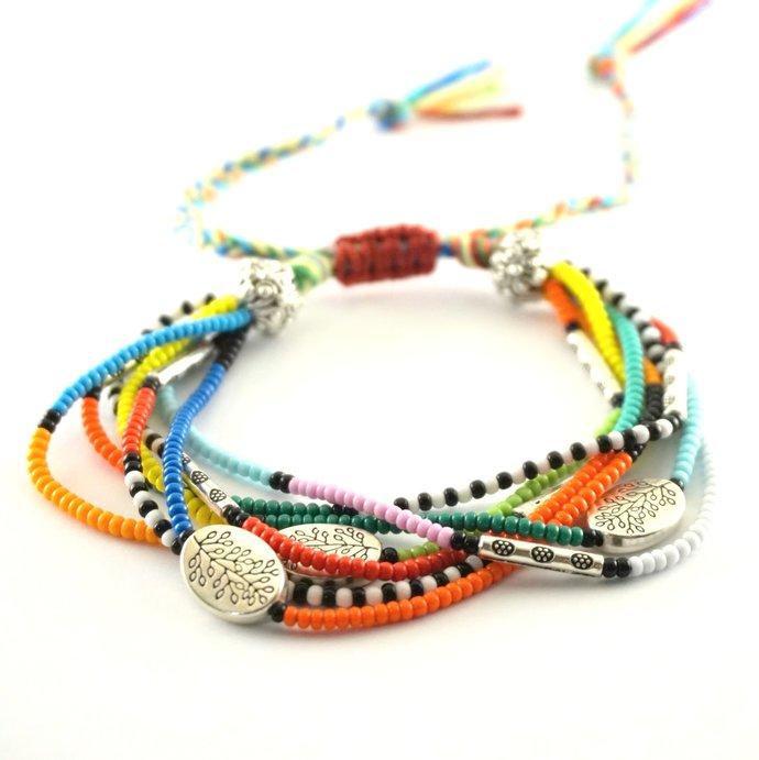 Multi strand bracelet Hippie bracelet Friendship bracelet woven bracelets Beaded