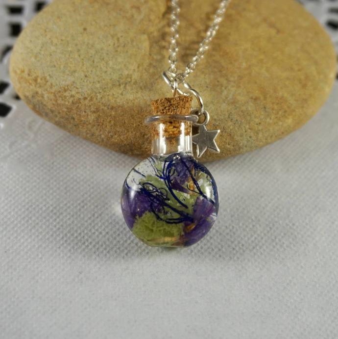 Fairytale gift Vial necklace Mini bottle necklace Capsule Purple flowers pendant