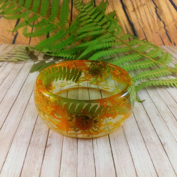 Fern bracelet Yellow green bracelet Nature bracelet Natural jewelry fairytale