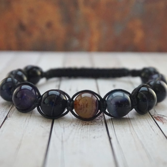 Father's Day Purple agate bracelet For men Gift for him Stone bracelet Chakra