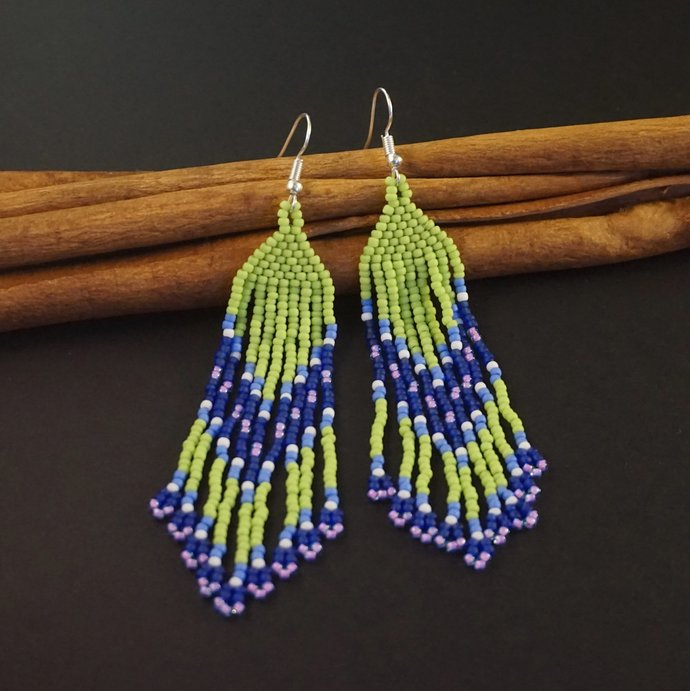 Boho beaded earrings for women, Beaded long earrings, Bohemian earrings Boho
