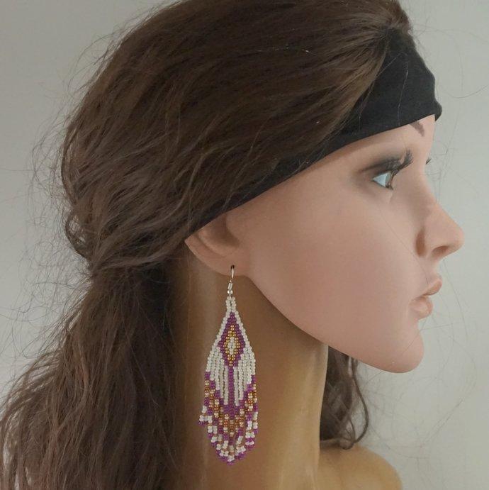 Native beaded earrings white purple boho chic dangle earrings artisan long