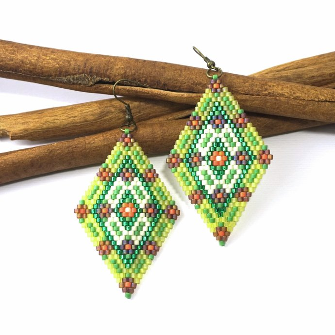 Boho beaded earrings for women Beaded long earrings Bohemian earrings Boho