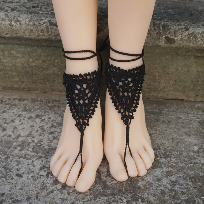 Barefoot sandals crochet sandals lace boho wrapped ankle jewelry bohemian