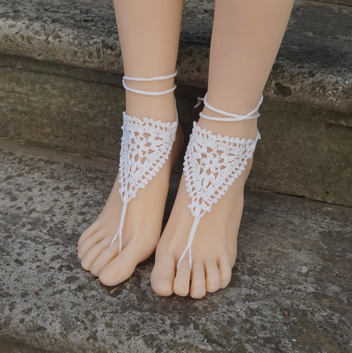 Barefoot sandals bohemian bridal beachwear crochet sandals adjustable white boho