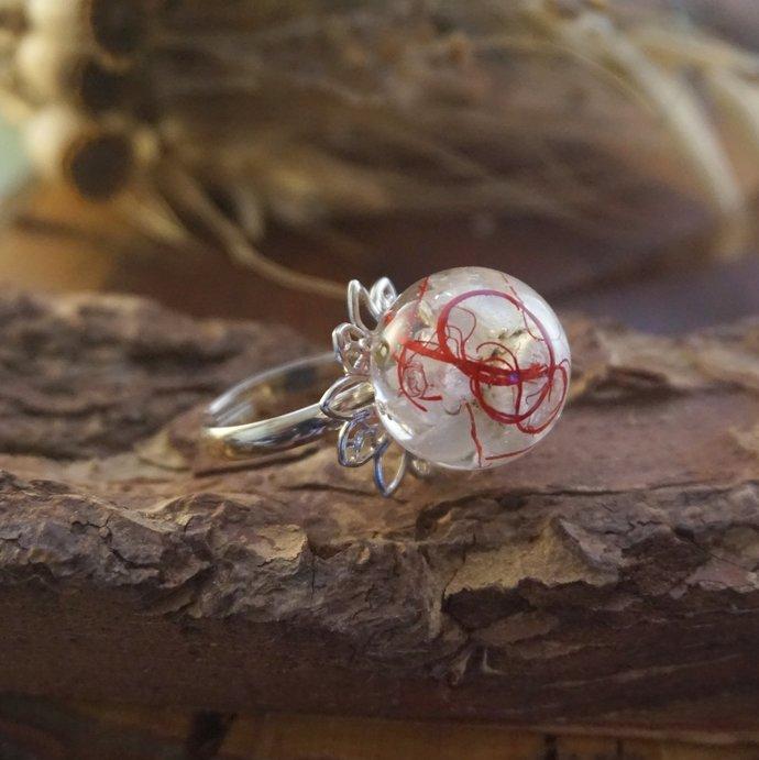 Nature rings for women, Real flower ring, Resin ring flower Adjustable rings