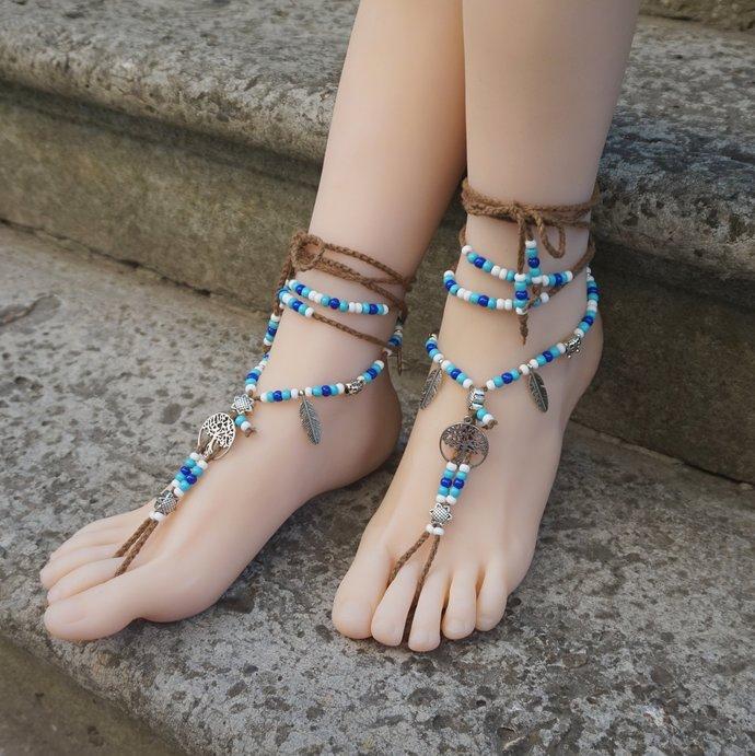 Boho barefoot sandals Brown sandals Hippie sandals wedding tribal beaded Beach