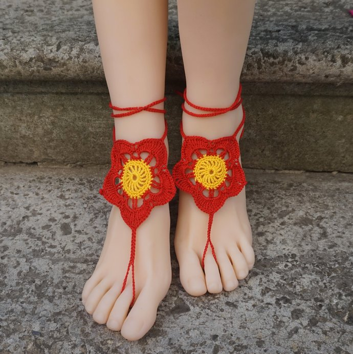 Red flower barefoot sandals beach wedding boho bohemian crochet sandals floral