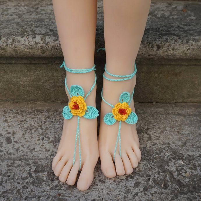 Yellow flower barefoot sandals crocheted summer beach wedding sandals wrapped