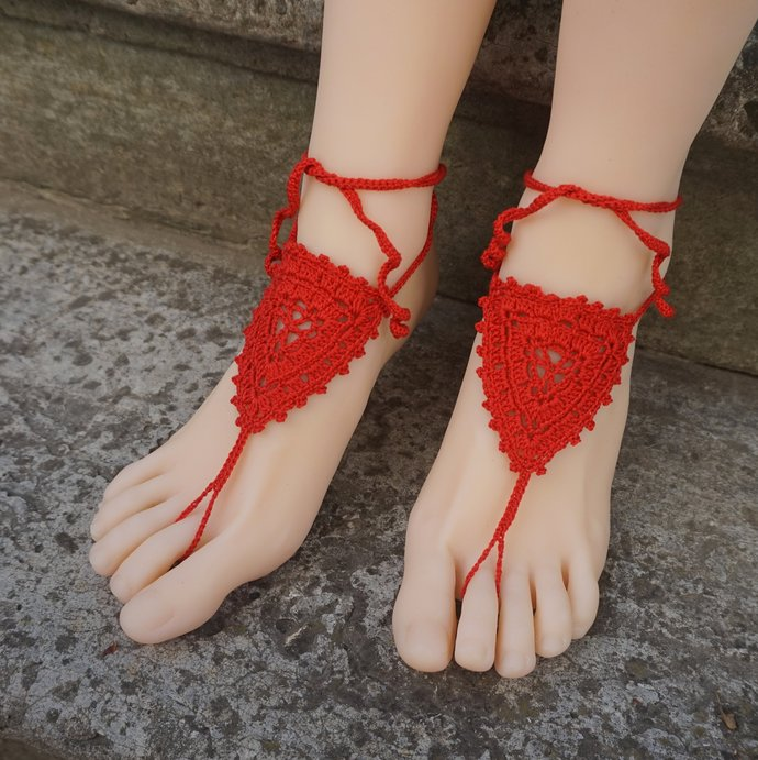 Red barefoot sandals beach wedding jewelry crocheted sandals red wrapped ankle