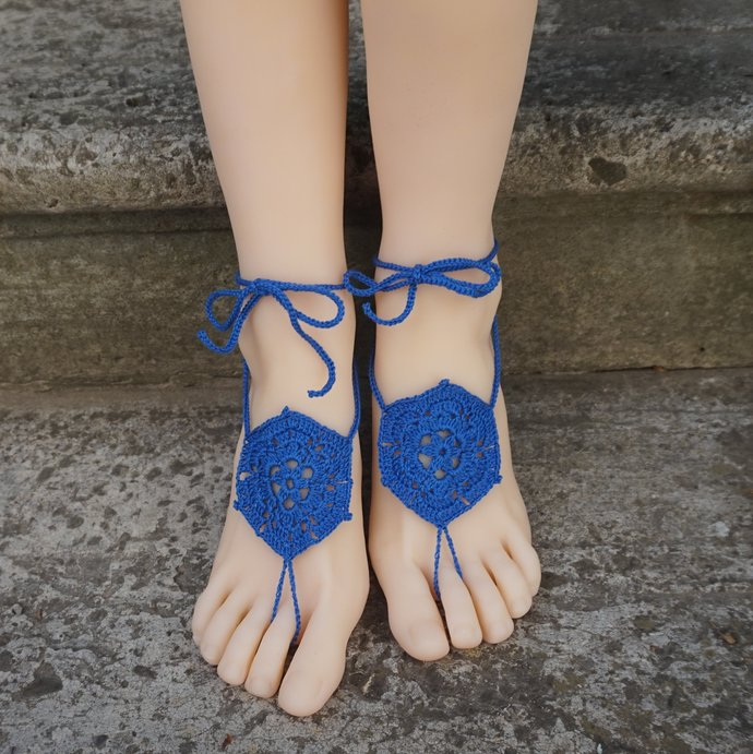 Blue women sandals wrapped ankle beach sandals barefoot wedding sandals royal
