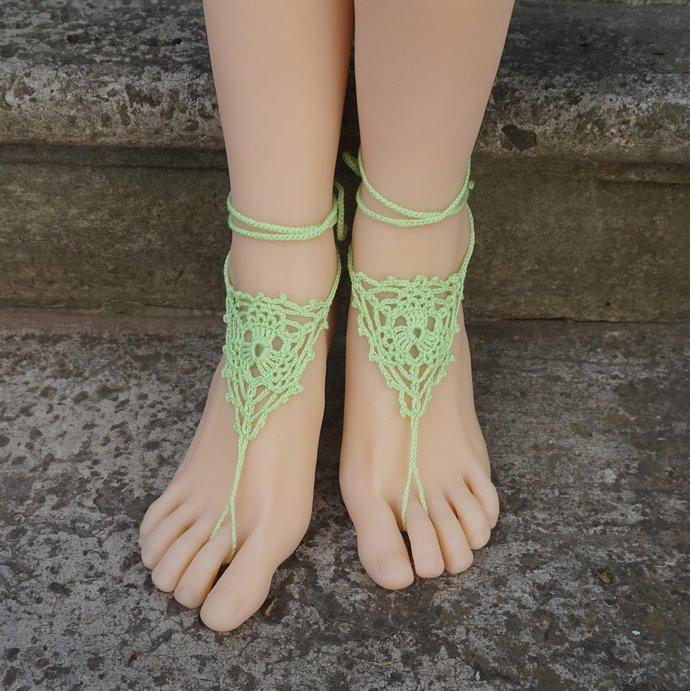 Lime green summer barefoot sandals crochet barefoot jewelry womens hippie beach
