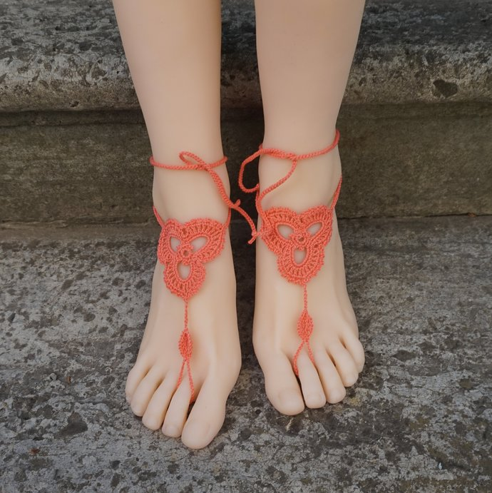 Barefoot wedding sandals coral anklets foot jewelry beach wedding accessories