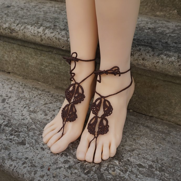 Wrapped ankle boho barefoot sandals emperador layered hippie anklet beach