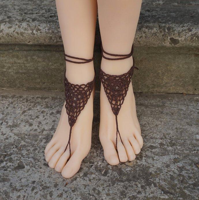 Boho barefoot sandal brown crochet bohemian anklets beach jewelry everyday boho