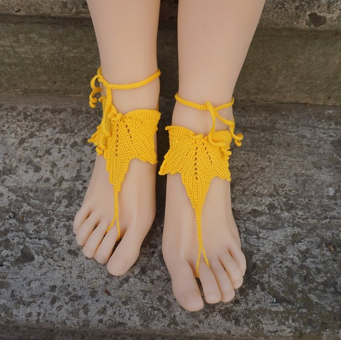 Autumn maple leaf jewelry beach barefoot sandals yellow anklets crochet sandal