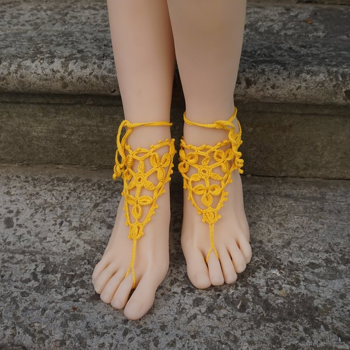 Beach barefoot sandals boho bohemian lace crocheted sandals yellow anklets