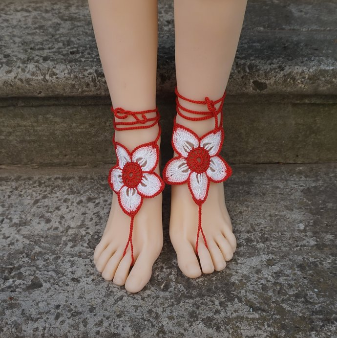 Red and white barefoot sandals flower jewelry footwear Womens floral anklet