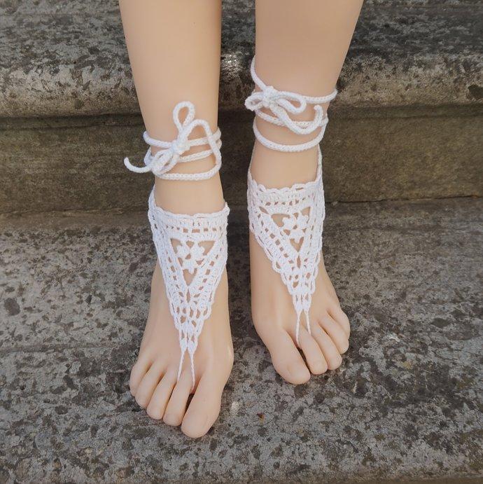 Beach wedding sandals bridal barefoot crocheted sandals Dainty summer anklet