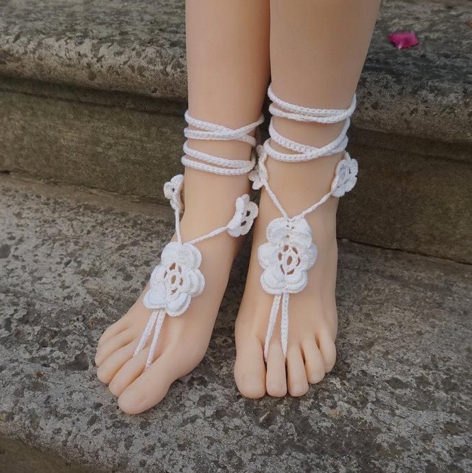 White wedding barefoot sandals crochet beachwear footless sandals flower ankle