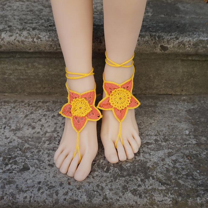 Beach barefoot sandals yellow flower barefoot sandals soleless sandals barefoot