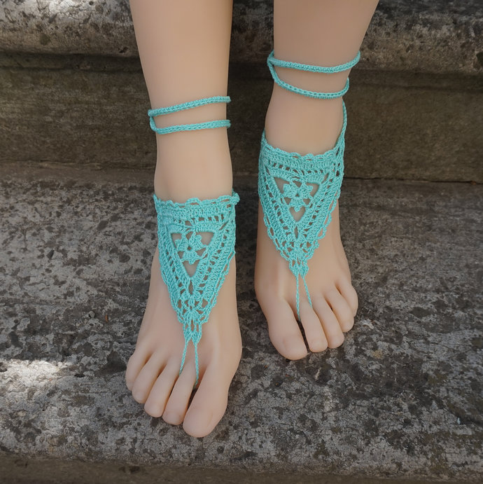 Turquoise barefoot sandals beach wedding sandals bridal lace barefoot sandals