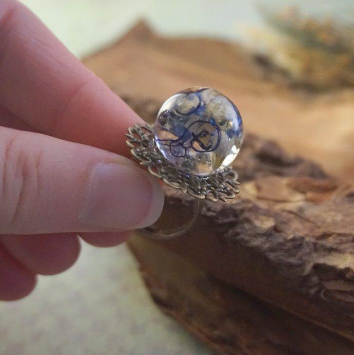 Nature rings for women, Real flower ring Resin ring flower Adjustable rings