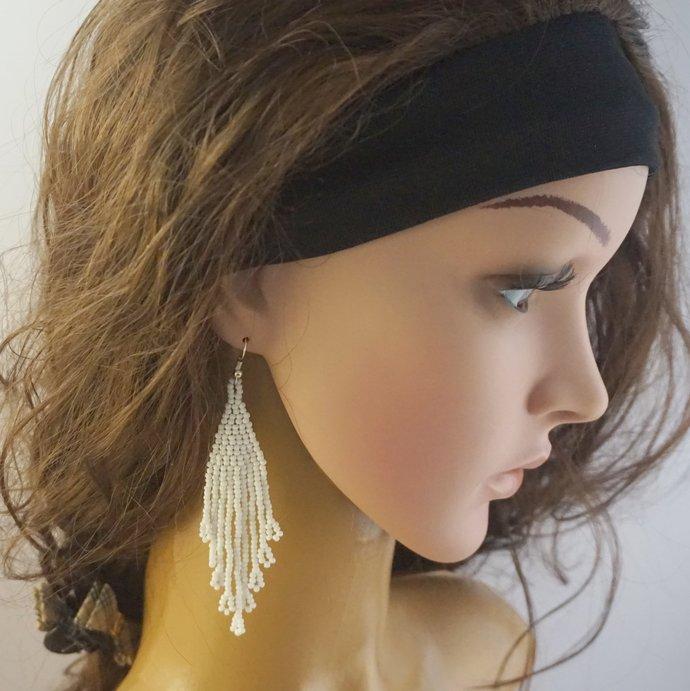 Boho beaded earrings for women, Beaded long earrings Bohemian earrings Boho
