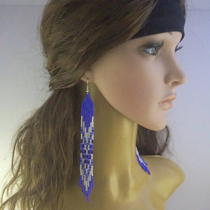 Extra long earrings, Long beaded earrings, Statement earrings Long dangle