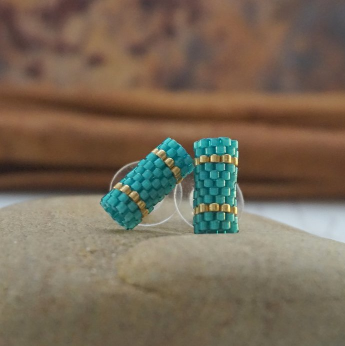 Stud earrings seed beaded studs Teal wedding tiny bar stud earrings blue gold