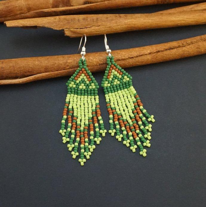 Native beaded earrings lime green jewelry ethnic ornament handmade tiny earrings