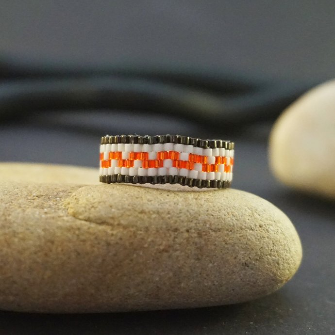 Beaded rings for women, Boho ring, Bohemian ring, Thin ring, Seed bead ring,
