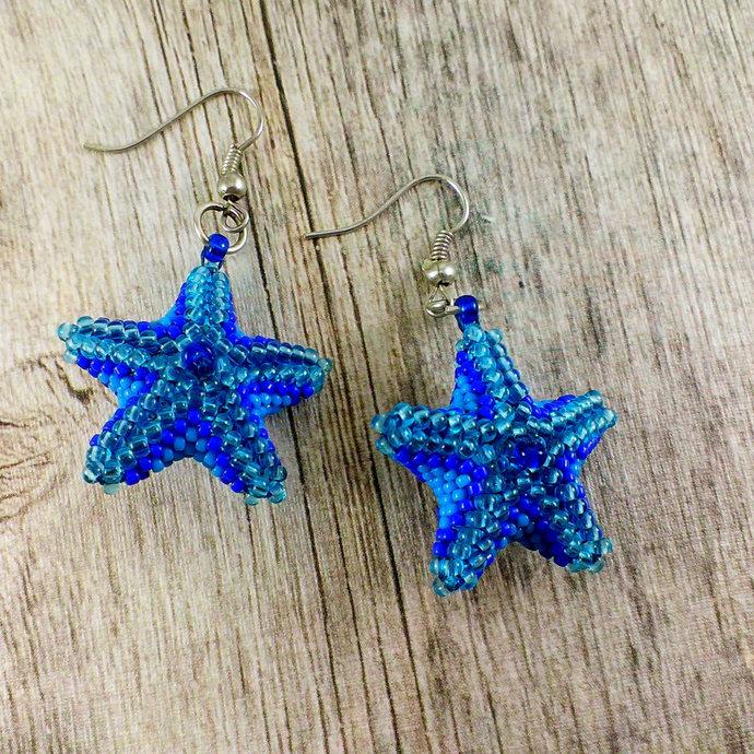 Blue star earrings Beads earrings Seed bead earring  Blue star earrings Love