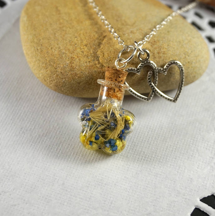 Yellow blue glass bottle necklace Glass vial necklace Fairy necklace Real flower