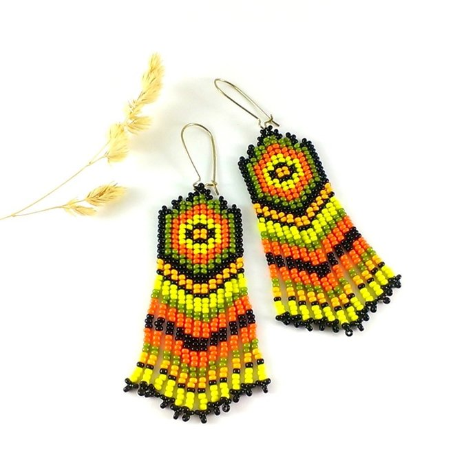 Native american beaded earrings style ethnic earrings dangle earrings long