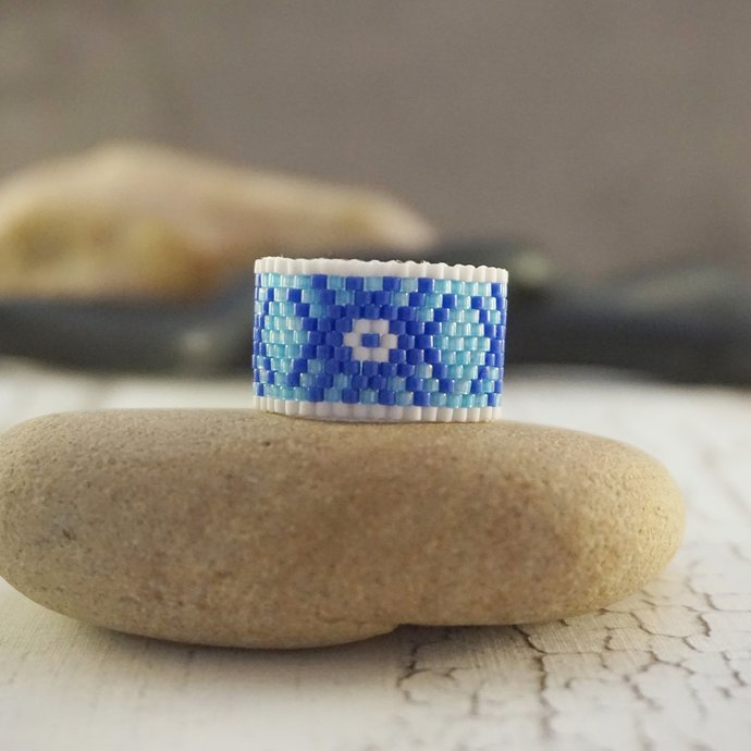 Boho rings for women, Beaded ring, Fashion rings, Tribal ring Hippie ring Wide
