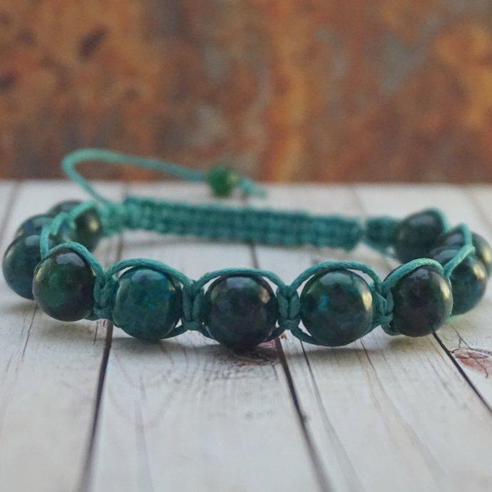 Dark green bracelet Green chrysocolla bracelet Gemstone bracelet Yoga bracelet