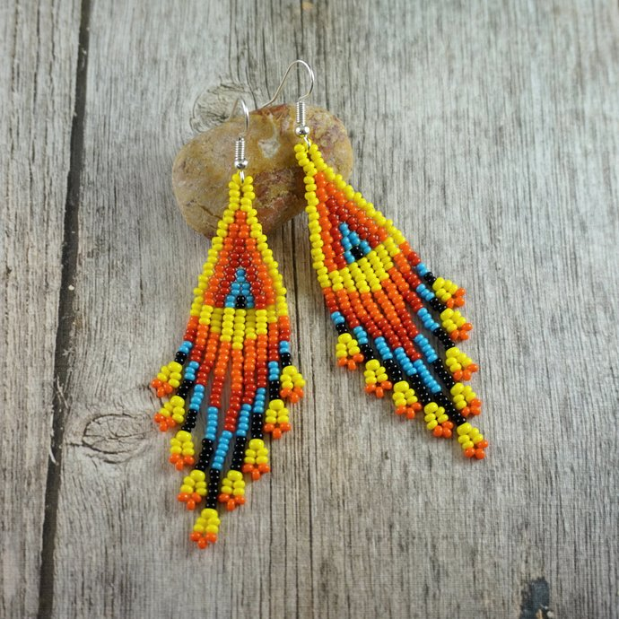 Native american beaded earrings style, ethnic earrings dangle earrings long