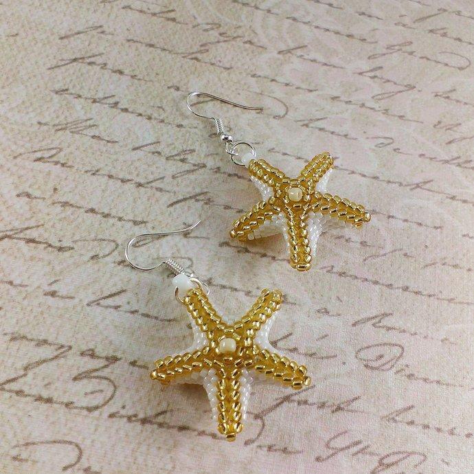 Gold star earrings Gold beaded earrings White star earrings Beaded stars White