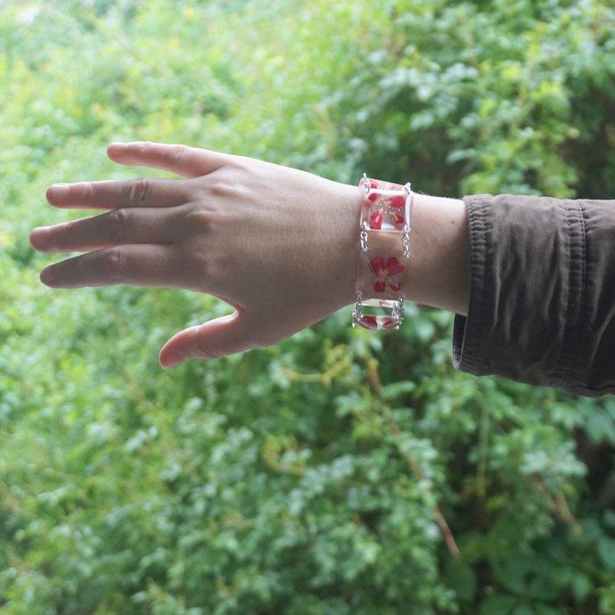 Red bracelet Real flower bracelet Real rose jewelry Eco resin bracelet Real