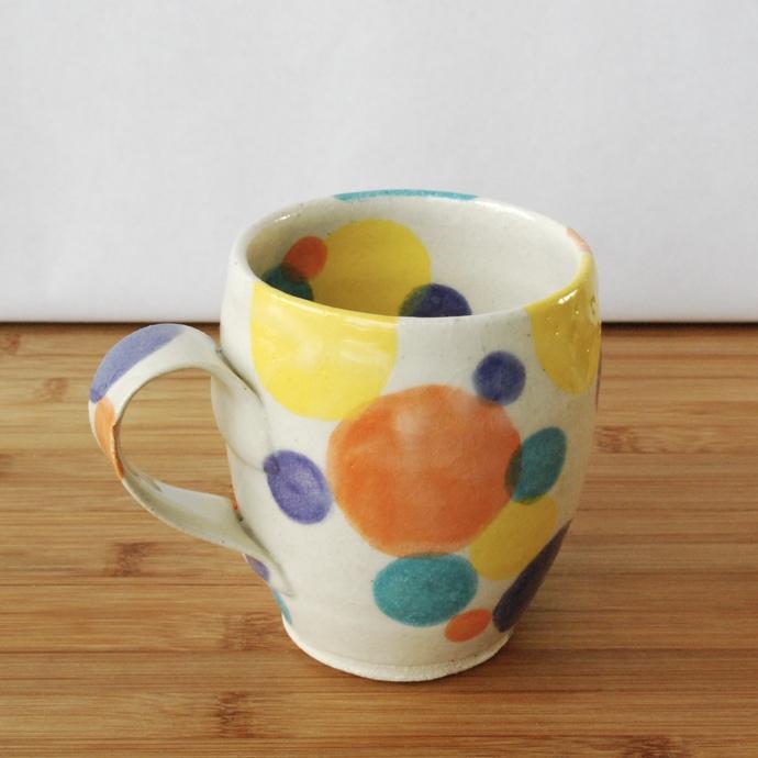 Handmade Colorful Ceramic Mug with Polka Dots