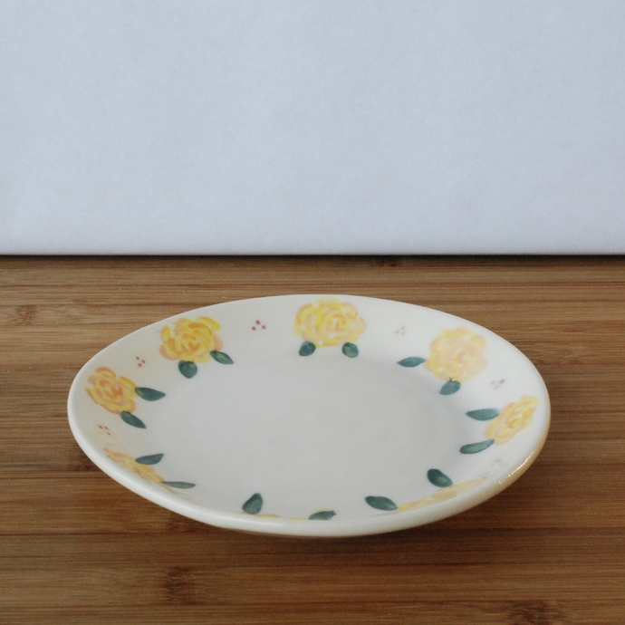 Small Handmade Ceramic Plate with Yellow and Orange Roses