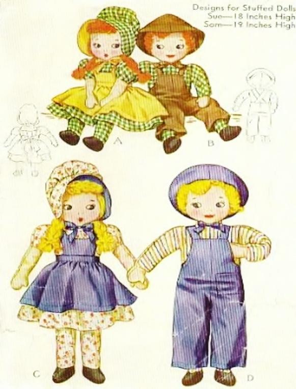 "Instant Digital Download Vintage Sewing Pattern to make Sue & Sam 18"" 19"" Rag"