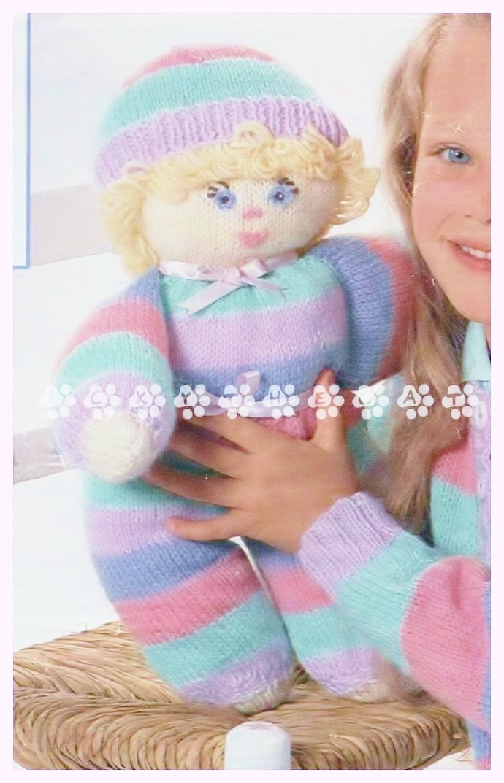 "Vintage 1970's Knitting Pattern to make A Stuffed, Plush, Soft Body Toy Doll 15"""