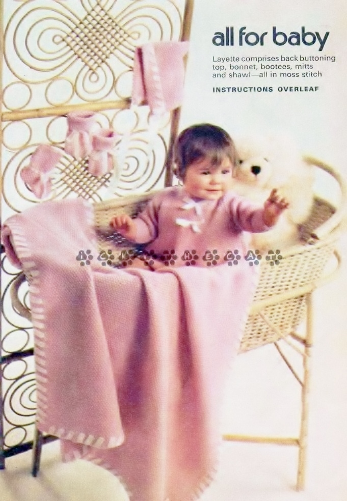 Vintage 1960s Knitting Pattern to make A Baby Layette Jacket Bootees Mitts
