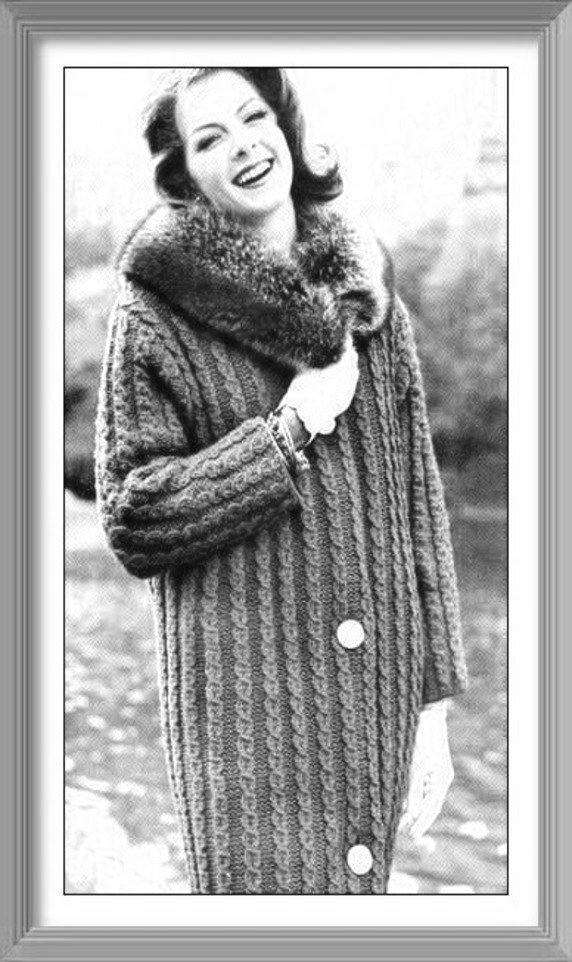 Instant PDF Download Vintage Knitting Pattern to make a Ladies Aran Style Bulky
